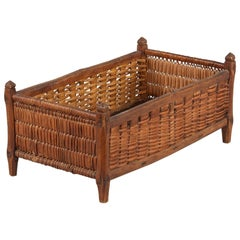 French Wood and Wicker Basket, Early 1900s