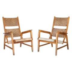 Italian 1940's Wood and Woven Lounge Chairs