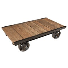 French Wood Coffee Table on Wheels, circa 1890