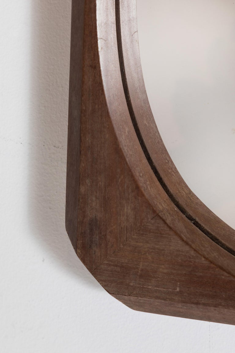 French Wood Framed Faceted Mirror with Unique Hardware Details In Good Condition For Sale In Los Angeles, CA
