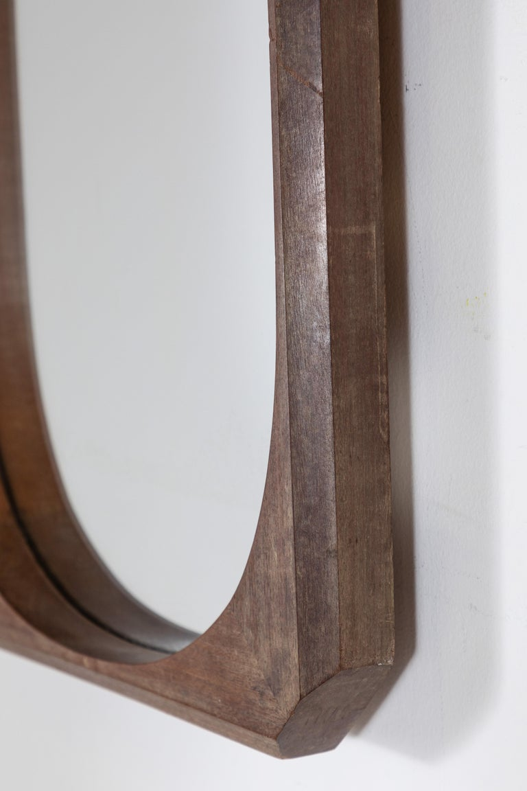 French Wood Framed Faceted Mirror with Unique Hardware Details For Sale 3