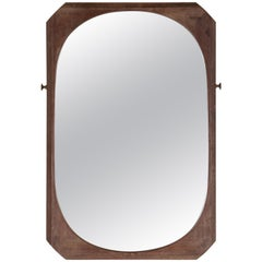 French Wood Framed Faceted Mirror with Unique Hardware Details