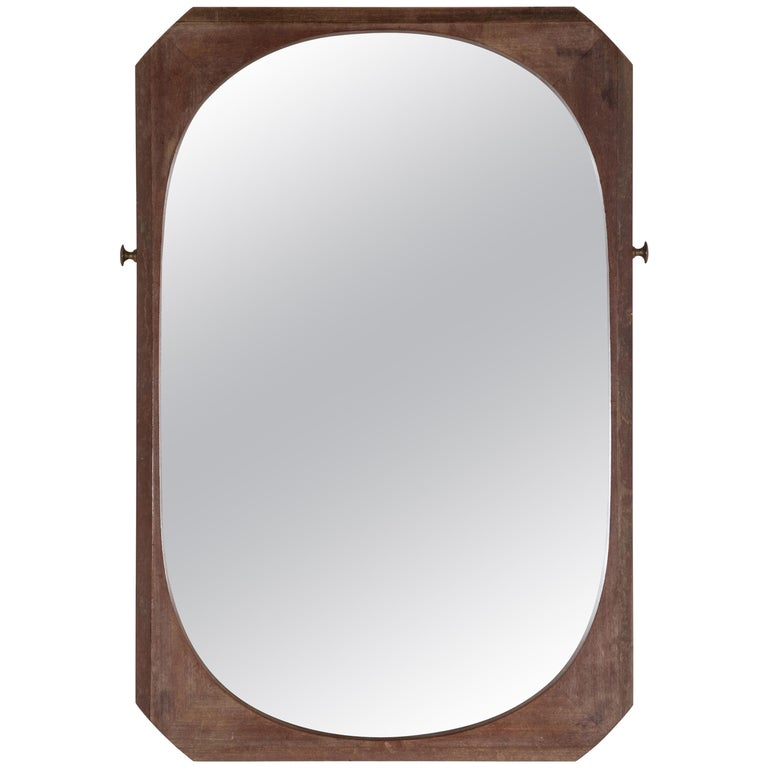 French Wood Framed Faceted Mirror with Unique Hardware Details For Sale