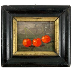 French Wood & Gold Leaf Framed Petite Red Cherry Oil Painting, Les Trois Cerises