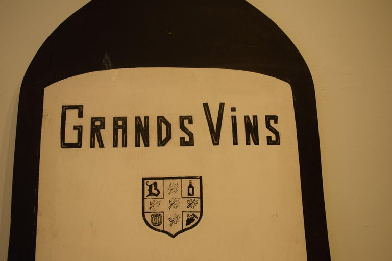 French Wood Hand Painted Wine Advertising Sign For Sale 1