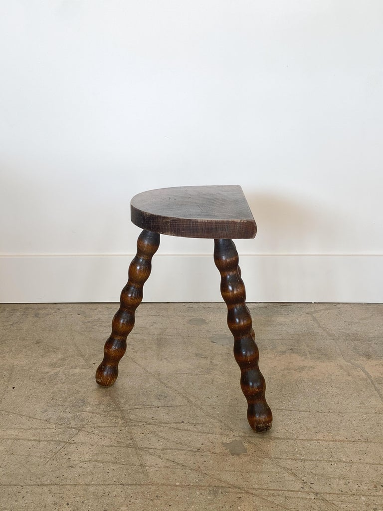 20th Century French Wood Tripod Stool For Sale
