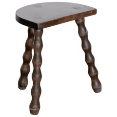 French Wood Tripod Stool