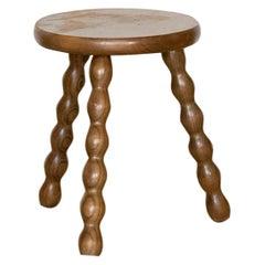 French Wood Tripod Stool