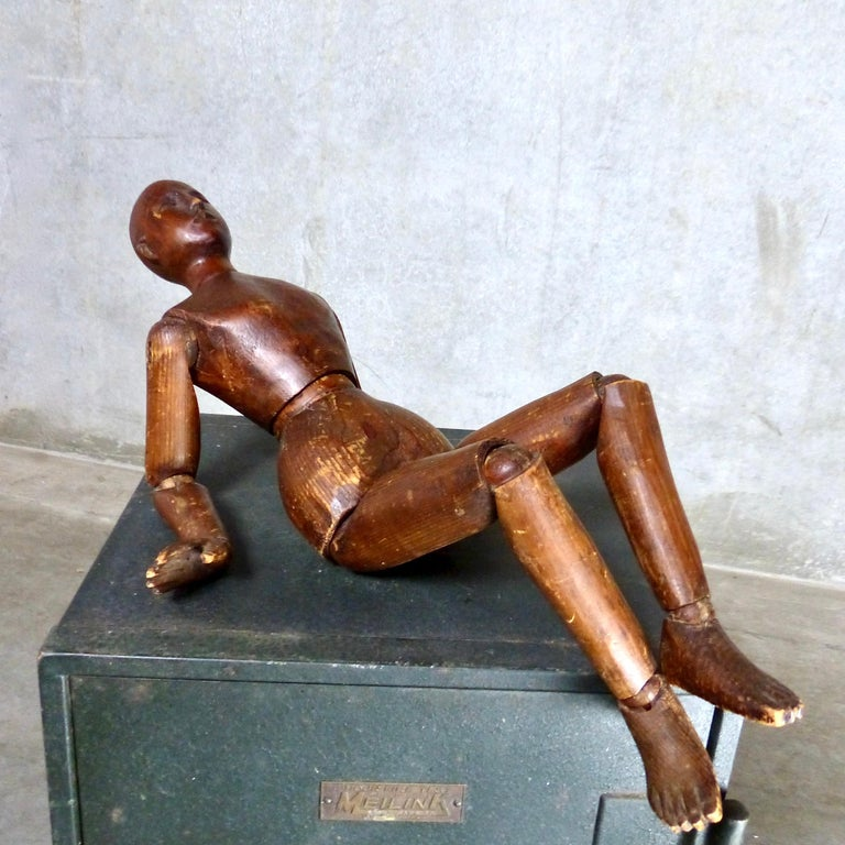 Carved French Wooden Articulating Artist's Model, circa 1900 For Sale