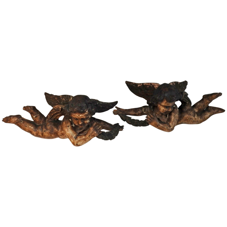 French Wooden Flying Cherub Putti's, 18th Century