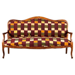 French Wooden Framed Camelback Bench in Ewe Fabric from Ghana