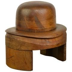 French Wooden Hat Mold, Esperaza France, Folk Art