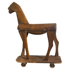 French Wooden Horse Toy on Wheels, Early 19th Century