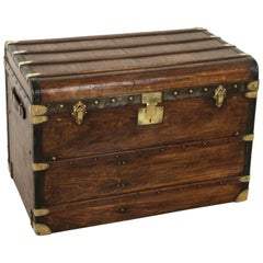 French Wooden Steam Trunk with Runners, Brass, Iron, Leather Details, circa 1900