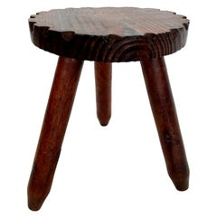 French Wooden Tripod Stool