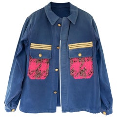 French Work Jacket Blue Upcycled Gold Bottons Neon Pink Tweed J Dauphin