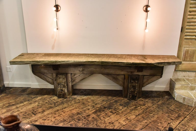 19th century French work shop table. Makes for a great console.