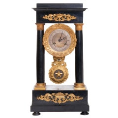 French Working Wooden Bronze Fireplace Clock, 19th Century