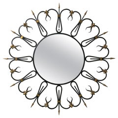 French Wought Iron Mirror, 1950s, Brass Fleur de Lys Details