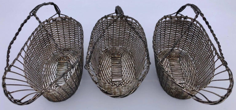 Modern French Woven Metal Basket Bottle Holders Used in a Parisian Restaurant For Sale