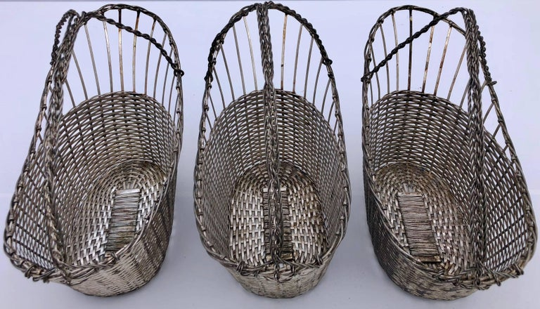 French Woven Metal Basket Bottle Holders Used in a Parisian Restaurant In Good Condition For Sale In Petaluma, CA