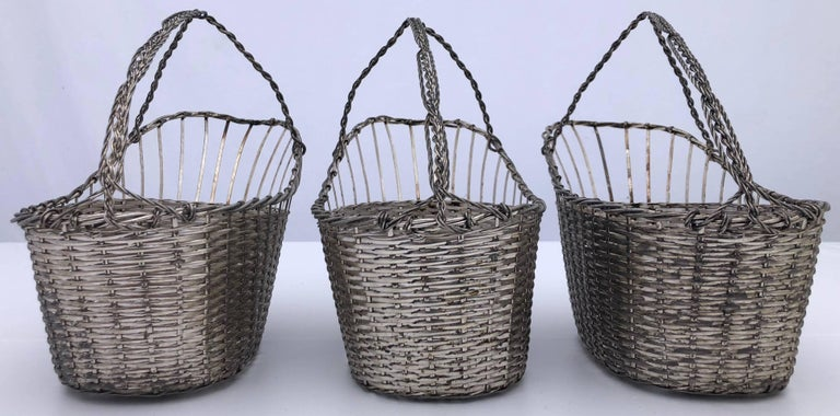 20th Century French Woven Metal Basket Bottle Holders Used in a Parisian Restaurant For Sale