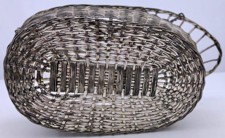 French Woven Metal Basket Bottle Holders Used in a Parisian Restaurant For Sale 1