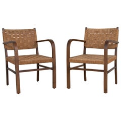 French Woven Rope Armchairs