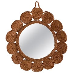 French Woven Seagrass Mirror