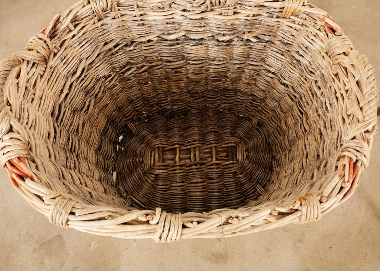 French Woven Wicker Champagne Grape Harvest Basket For Sale 4