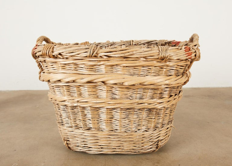 French Woven Wicker Champagne Grape Harvest Basket For Sale 5