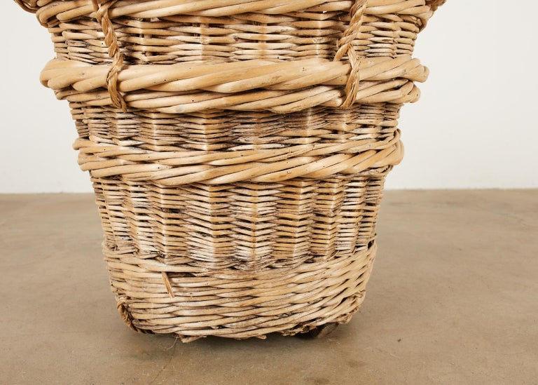 French Woven Wicker Champagne Grape Harvest Basket For Sale 1