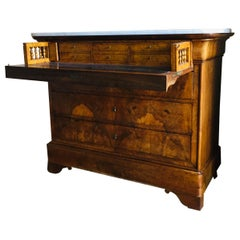 French Writing Desk-Chest of Drawers in Flame Mahogany L. Phillipe Marble Top