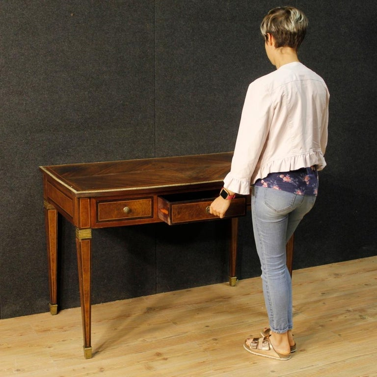 French Writing Desk in Inlaid Wood in Louis XVI Style from 20th Century 7