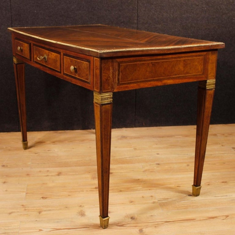 Gilt French Writing Desk in Inlaid Wood in Louis XVI Style from 20th Century