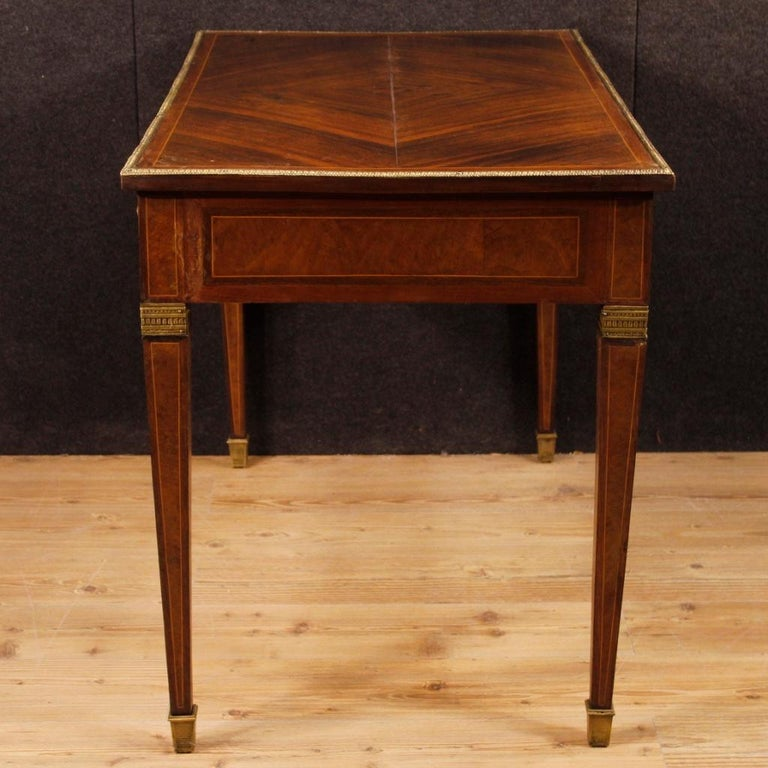 French Writing Desk in Inlaid Wood in Louis XVI Style from 20th Century In Fair Condition In Vicoforte, Piedmont