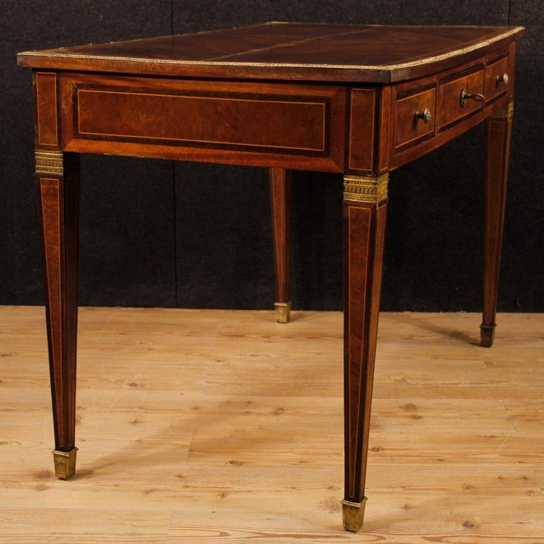 Brass French Writing Desk in Inlaid Wood in Louis XVI Style from 20th Century