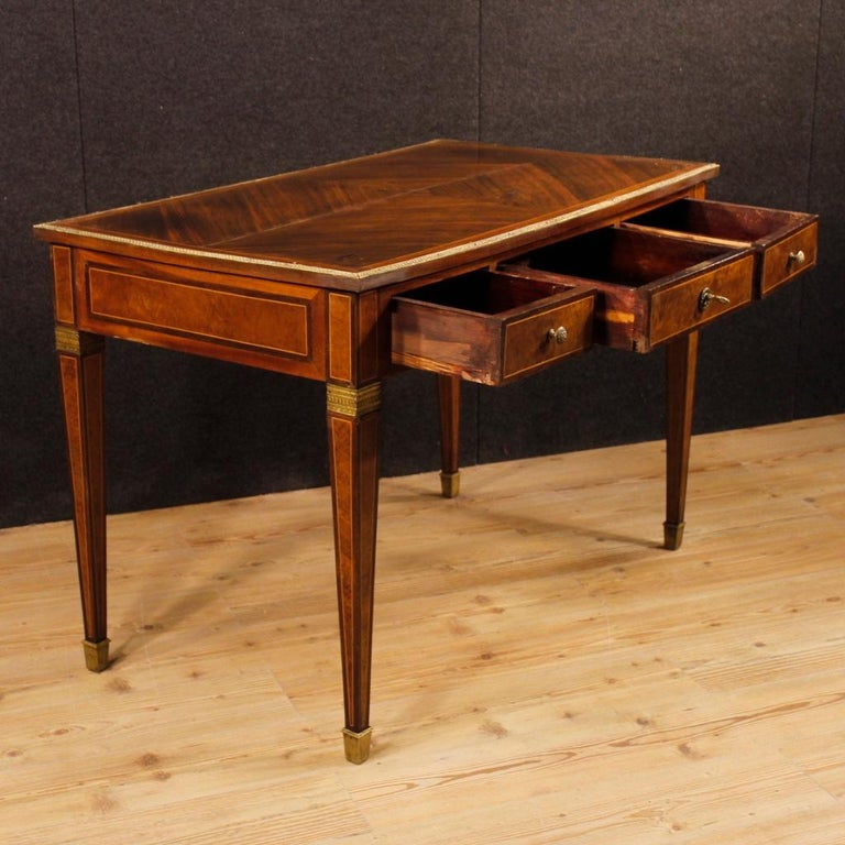 French Writing Desk in Inlaid Wood in Louis XVI Style from 20th Century 3