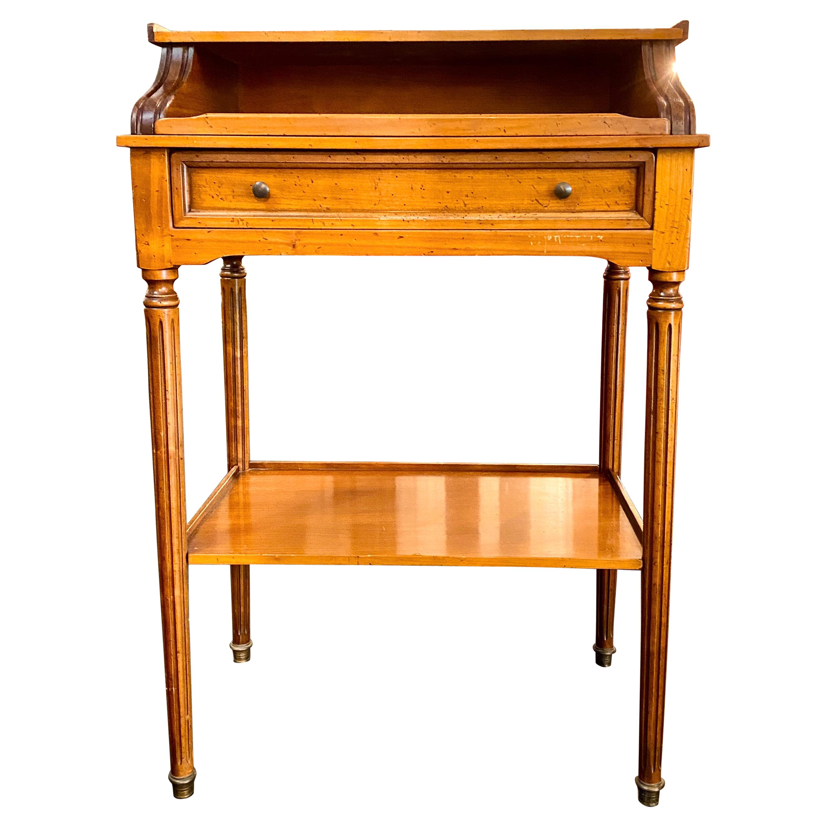 French Writing Table on Casters, Pull-Out Gilt-Tooled Leather Top