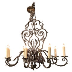 French Wrought Iron 8-Light Chandelier