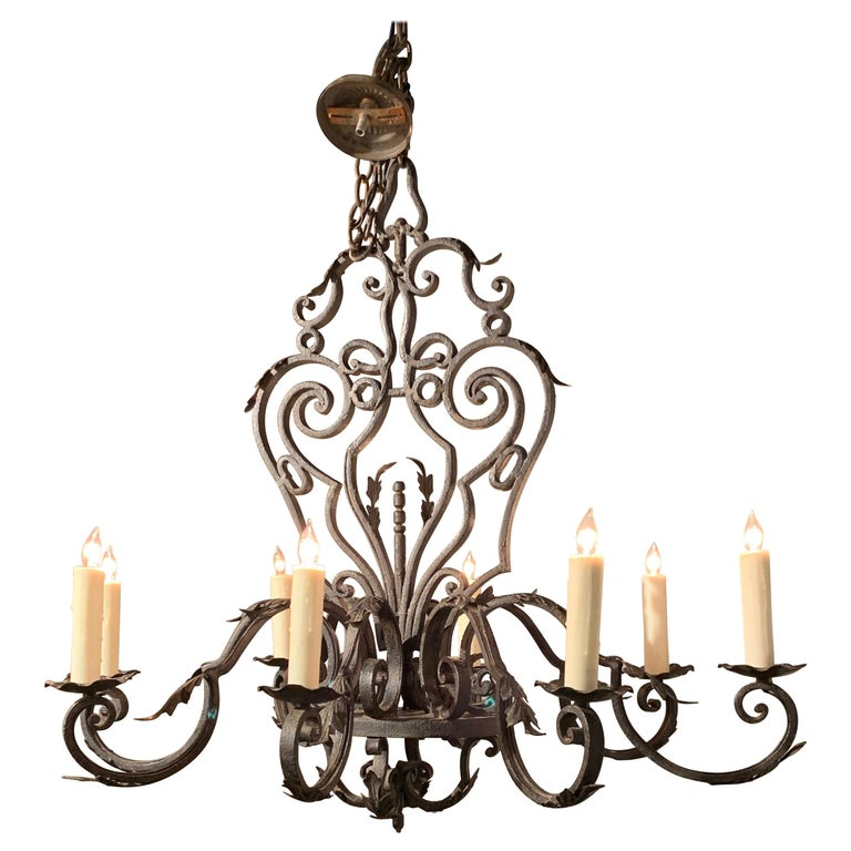 French Wrought Iron 8-Light Chandelier For Sale