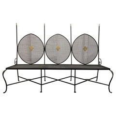 French Wrought Iron and Brass Bench