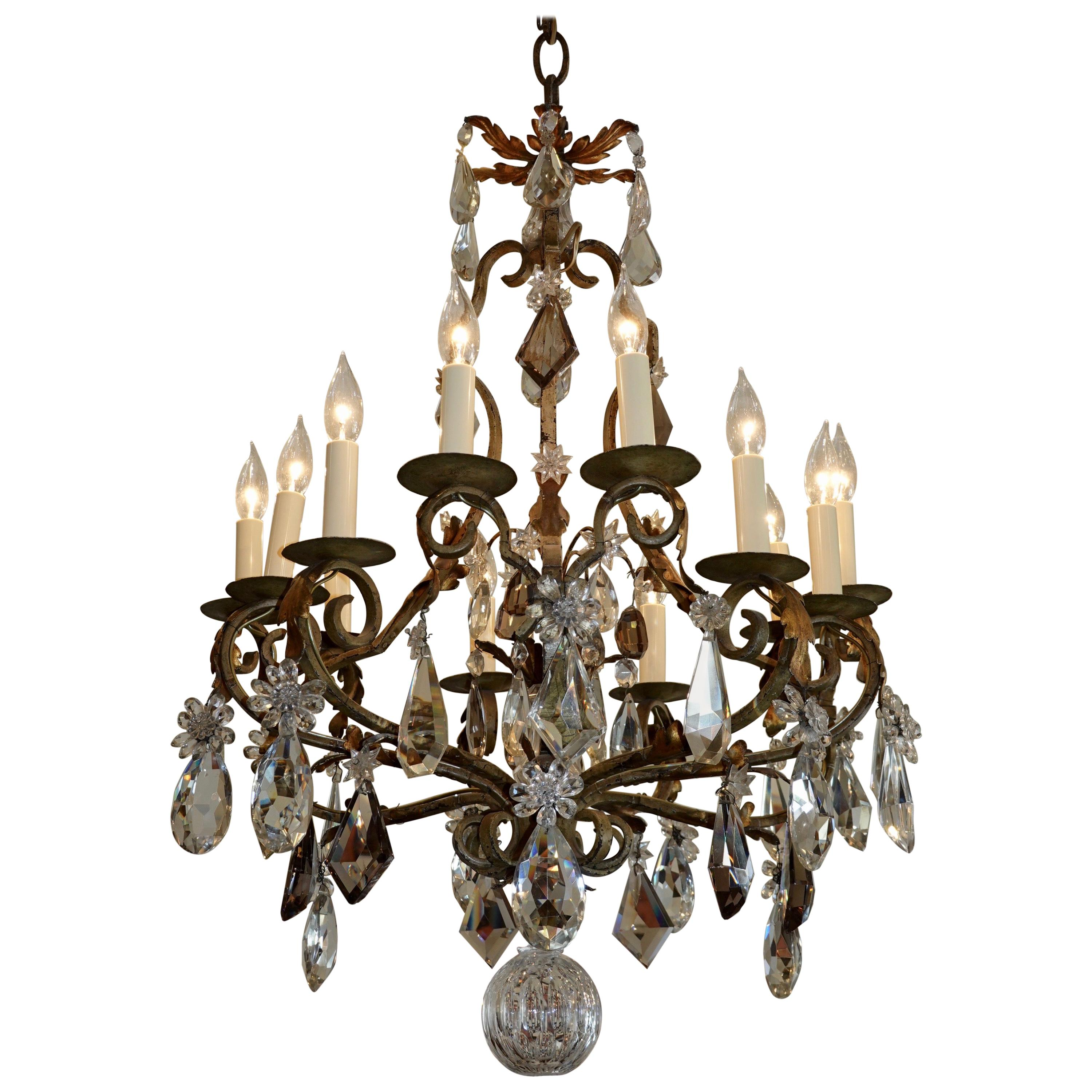 French Wrought Iron and Crystal Chandelier with 12-Light