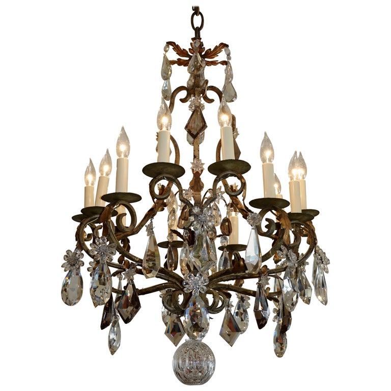 French Wrought Iron and Crystal Chandelier with 12-Light For Sale
