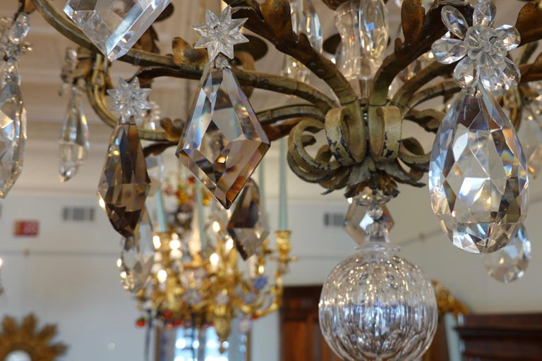 French Wrought Iron and Crystal Chandelier with 12-Light For Sale 5