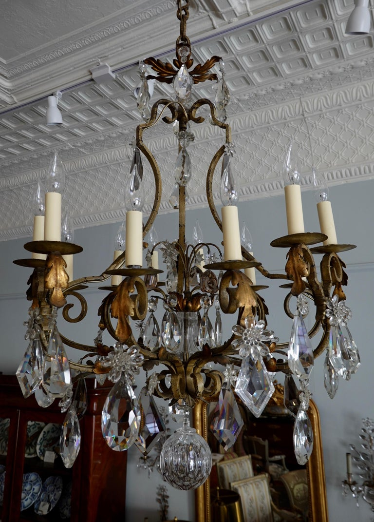 French Provincial French Wrought Iron and Crystal Chandelier with 12-Light For Sale