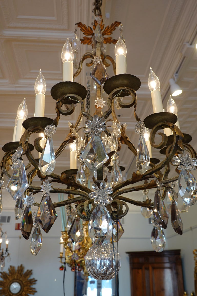Gilt French Wrought Iron and Crystal Chandelier with 12-Light For Sale