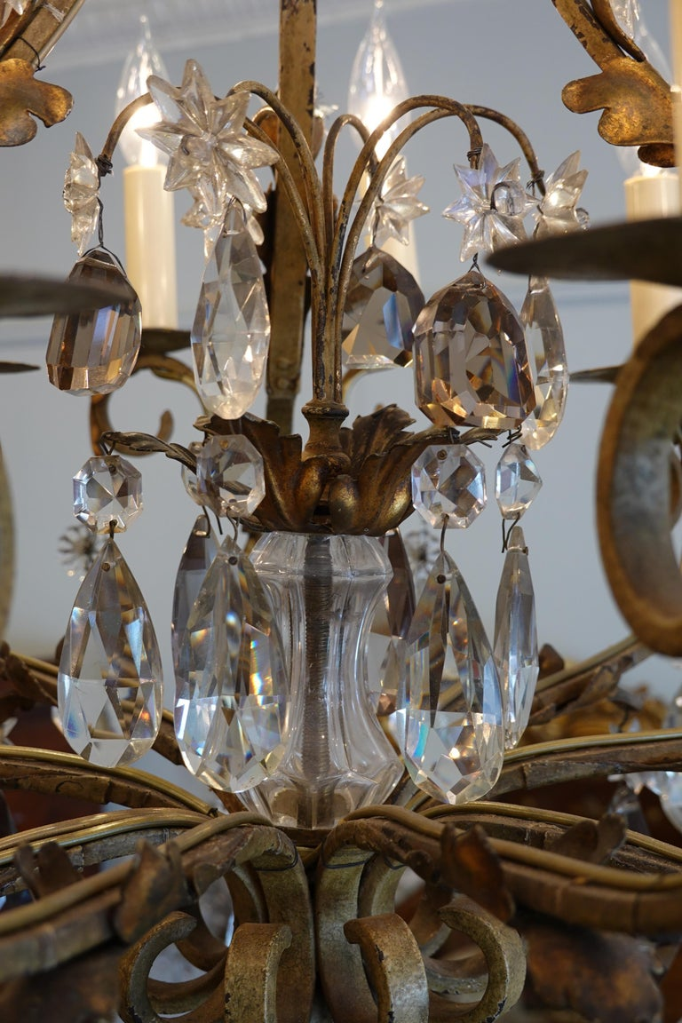 French Wrought Iron and Crystal Chandelier with 12-Light In Good Condition For Sale In Charleston, SC