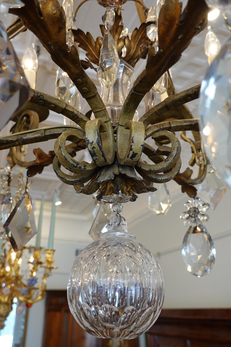 20th Century French Wrought Iron and Crystal Chandelier with 12-Light For Sale
