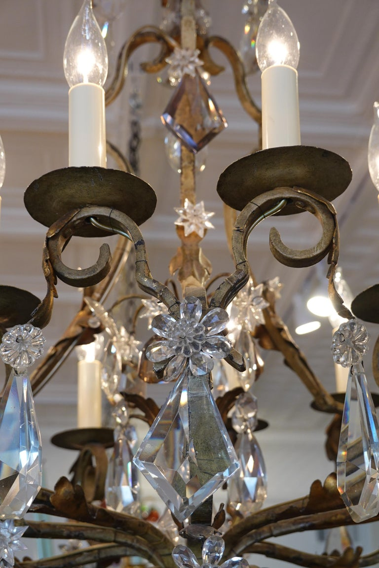 French Wrought Iron and Crystal Chandelier with 12-Light For Sale 3